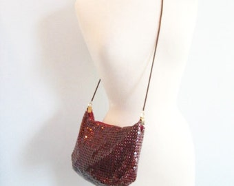 Vintage Oxblood Metal Mesh Slouchy Purse with Crossbody Strap