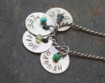 Custom STERLING Silver Hand Stamped Four DISC Mother GrandMother Necklace Children's Names