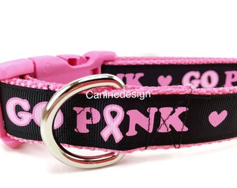 Dog Collar, Go Pink, Breast Cancer, 1 inch wide, adjustable, quick release, metal buckle, martingale, chain, hybrid, nylon
