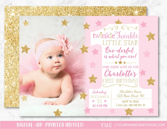 Twinkle Twinkle Little Star Birthday Invitation, Pink and Gold First Birthday Twinkle Twinkle Invite With Photo, 1st Birthday