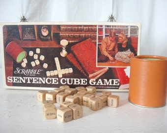 Vintage Scrabble Sentence Cube Game, Word Game, Word Cubes, Sweet Nothings, Family Game Night, Game Room, Home Decor, Craft, Words, Notes