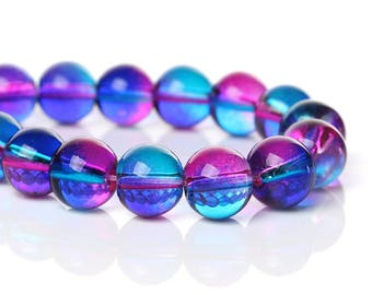 Set of 5 glass beads - pink and blue transparent - 10 mm