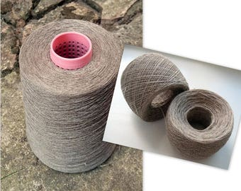 Linen Yarn 3.53 oz (100 g) 1 ply in balls Natural Linen Gray