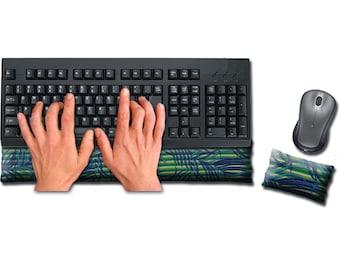 Keyboard and Mouse Ergonomic Wrist Rest Pad Set Handmade - Desktop Laptop - Flax Seed Fill Optional Scent - Satin / Velvet - Jungle Stripe