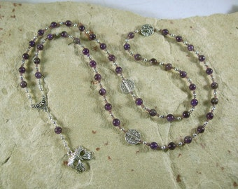 Dionysos Prayer Bead Necklace in Amethyst: Greek God of Wine, Theater, the Mysteries