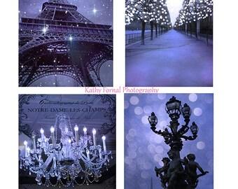 Paris Prints, Paris Lavender Wall Art, Paris Photography, Paris Fairy Lights Sparkling Wall Prints, Paris Sparkling Lights Lavender Purple