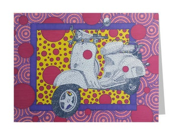 Moped 5x7 Card - Blank Greeting Card - Scooter Girls Card - Vintage Vespa - Fun Colorful Card - Card For Her - Birthday Card - Thank You