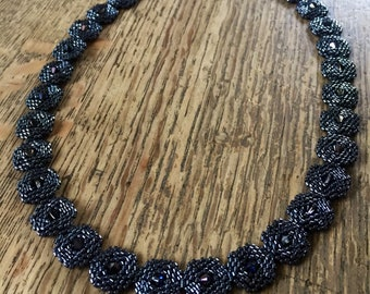 Beaded hematite statement necklace, crystal & glass bead necklace, striking necklace, city chic necklace, hematite necklace, beaded jewelry