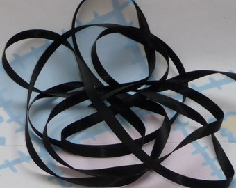 BLACK DouBLe FaCeD SaTiN RiBBoN, Polyester 1/4 inch wide, 5 Yards