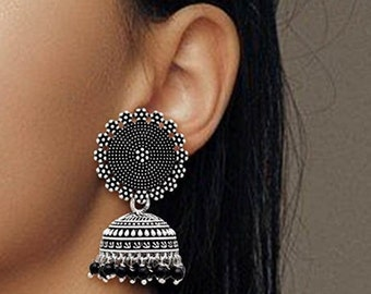 Bollywood Oxidised Silver Plated Handmade Jhumka Jhumki Earrings for Women Silver and Black