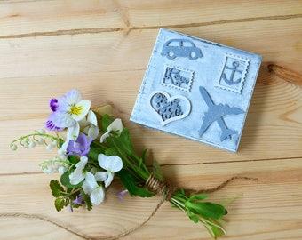 Travel theme wedding ring box, proposal engagement  ring box, rustic wood jewelry box personalized ring holder bearer box pillow alternative