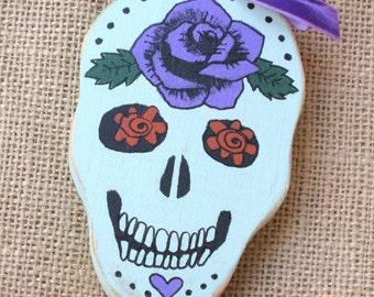 Sugar Skull Ornament, Wooden Ornament, Wood Ornament, Dia De Los Muertos, Day of the Dead, Skull Flowers, Mexican Decor, Mexican Folk Art
