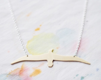 Albatross Sterling Silver or Brass Necklace, For Good Luck. Bird Necklace, Animal Jewelry, Lucky Ornithology