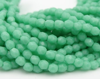 Czech Glass 3mm Fire Polished Green Turquoise  50 Pieces.