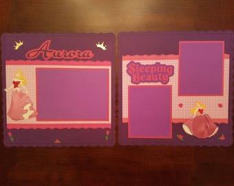 "Disney Sleeping Beauty Scrapbook Layout 2 Page Premade 12""x12"" Aurora Layout Shadow Box Framed Art Gift Home Decor"