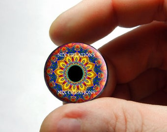 Kaleidoscope Blythe Glass Eyes - Custom Blythe Eye Chips Human Doll Taxidermy Eyes Handmade Glass Design 3 - Pair or Single
