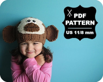 English-French Two Needle KNITTING PATTERN / Digital Download / #63 / Knitted Monkey Hat / 6-16M to 5 years-Adult / US11 / 8mm