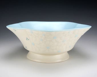 Porcelain Serving Bowl with Daisies and Dots