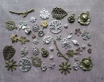 46 charms Metal Bronze silver Nature leaf flower Floral tree branch