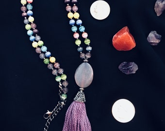 Dragon Vein Agate Tassel Pendant with Multi Color Cat's Eye Necklace