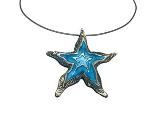 Starfish Silver Necklace, Beach Wedding Necklace, Mermaid Necklace, Seastar Shell Necklace, Seashell Necklace, Enamel Jewelry, Summer