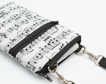 Cell Phone Bag, Samsung Galaxy S8 Crossbody, iPhone 8 Zipper Sling Bag, Smartphone Purse, Mini CrossBody Bag - music notes black white cream