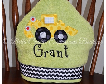 Construction Digger Hooded Towel (other colors available for towel)