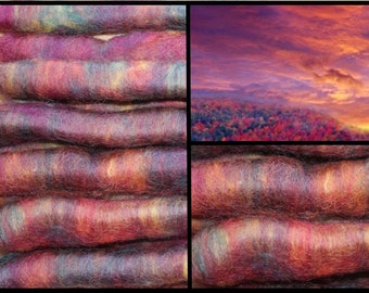 Rolags 92g Alpaca and Cotswold Blend Range of Violet, Purple, yellow, orange 12 rolls for the money.