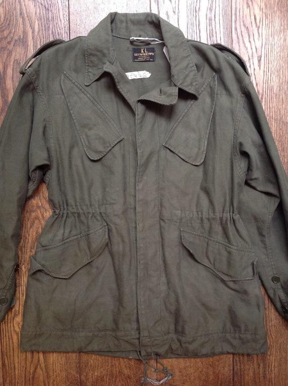 "Vintage 1970s 70s Dutch army military M-65 M65 field jacket khaki green 42"" chest utility sateen cotton"