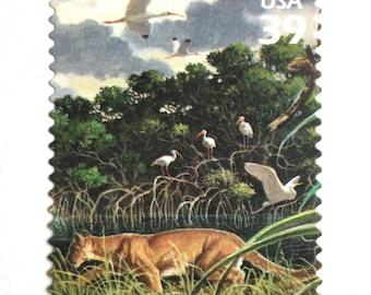 5 Florida Panther Postage Stamps // Florida Wetland Scene // Unused 39 Cent Panther Postage Stamps for Mailing