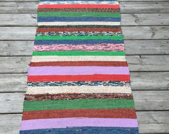 RR1820  Vintage European Rag Rug Multi Colored White Pink Green Blue Brown Lilac Red Stipes Stripy Rag Rug Runner Upcycled 1930s Floor Cover