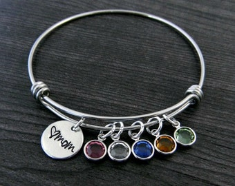 Charm Bracelet / Mom Bracelet / Wire Bangle / Mother Gift / Personalized / Hand Stamped / Mother Bracelet