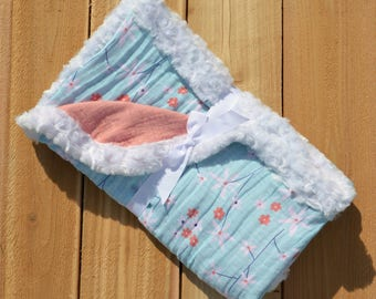 Minky Edged Double Gauze Baby Blanket
