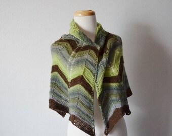 Cozy Forest Shawl - Hand Knit Chevron Motif Shawl in Greens & Brown Spring Green, Rainforest Green, Fall Fashion, Women's Fashion, Knit Wrap