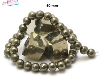 """strand 39 cm appx 39 pyrite beads """"10 mm round"""", natural stone"""