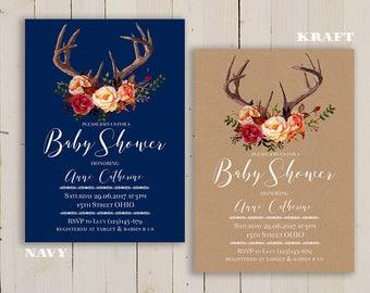 woodland Deer Antlers invite, Burgundy red, Burgundy INVITATION, kraft antlers baby shower invite