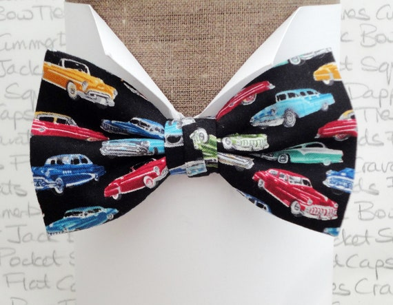Classic car bow tie, bow tie, bow ties for men, car print on a black background pre tied or self tie bow tie