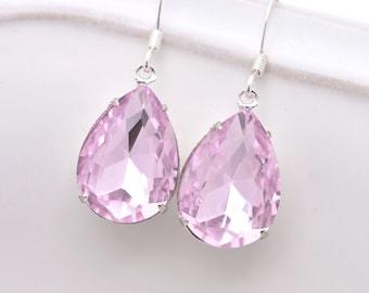 Light Pink Rhinestone Earrings, Pink Crystal Wedding Earrings, Pink Teardrop Bridal Earrings, Pink Bridesmaid Earrings 0208