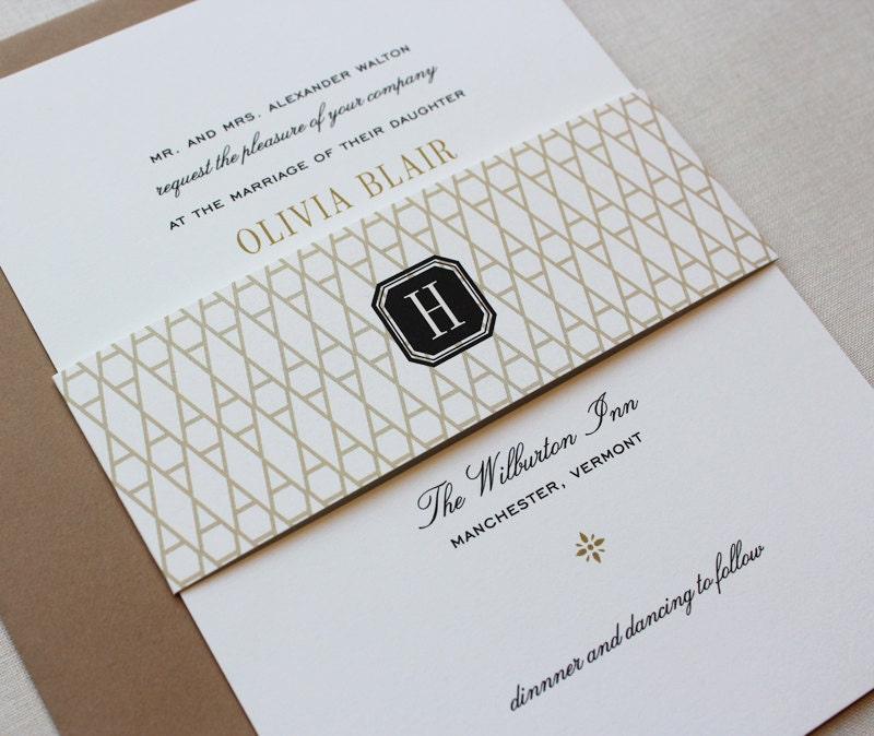 Classic Wedding Invitations Black and Gold Custom Wedding