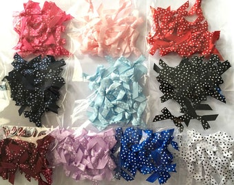20 Mini Fabric Spotty Satin Bows - Card Making Craft Embellishments Sewing Polka Dots