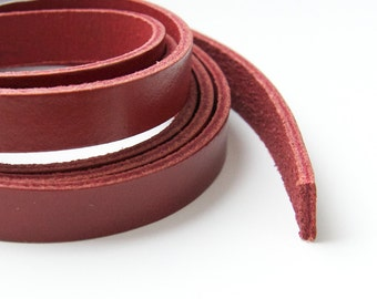 10mm Red Flat Leather, Genuine Red Flat Leather Lace Cord Wide Strap Lace, Licorice Bracelet 8inch / 20cm S 40 134