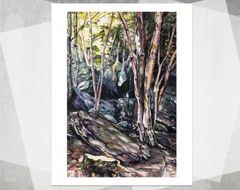 Summer at Hell Brook Giclee Print - Realistic Watercolor Landscape, Forest Painting, Landscape Painting, Tree Painting, Realistic Painting