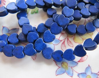 6mm Imitation Turquoise Heart Beads in Navy Blue, Flat, 1 Strand 15 Inches, 76 Pieces, Man Made Gemstones