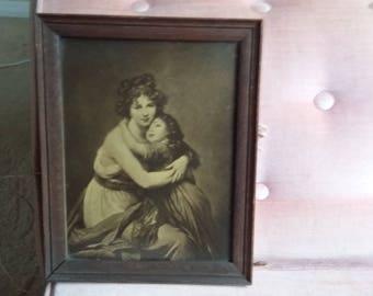 Vintage Print in Oak Frame. Mother and Child