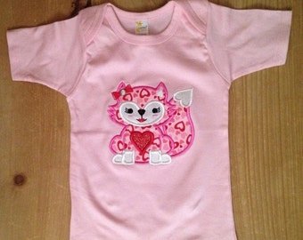 Pink and Red My Foxy Valentine Fox Embroidered Shirt or Baby Bodysuit