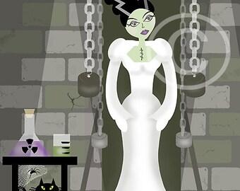 Halloween Art, Halloween, Illustration, Digital, Black, Gray, White, Bride Frankenstein, 8x10