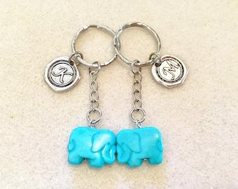 SALE!!! Couples gift set turquoise elephant keychain elephant gifts couples keychain personalized gift initial keychain blue turquoise