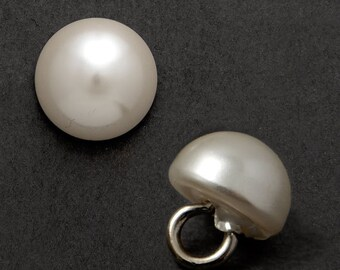 8mm Round  Pearl Button with Shank by 12 PCS, GN-4583