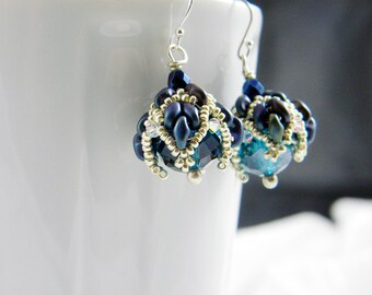 "READY TO SHIP Matte Blue Iris Superduo Beadweaving Earrings ""Tulip"""