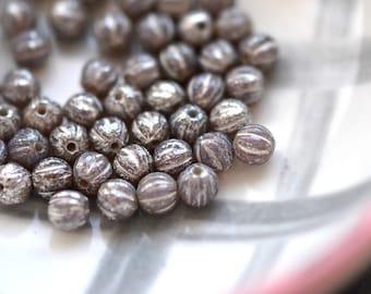 Kleine Tinkerbell - Premium-tschechische Glasperlen, milchig Lavendel, Quecksilber Finish, Baby Melone Runden 4mm - 25